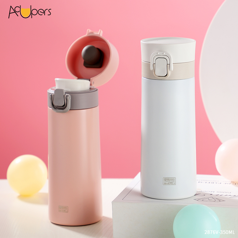 350ml 12oz Double Wall SUS 304 Vacuum Thermos Flask Insulation Water Bottle With Flip Top