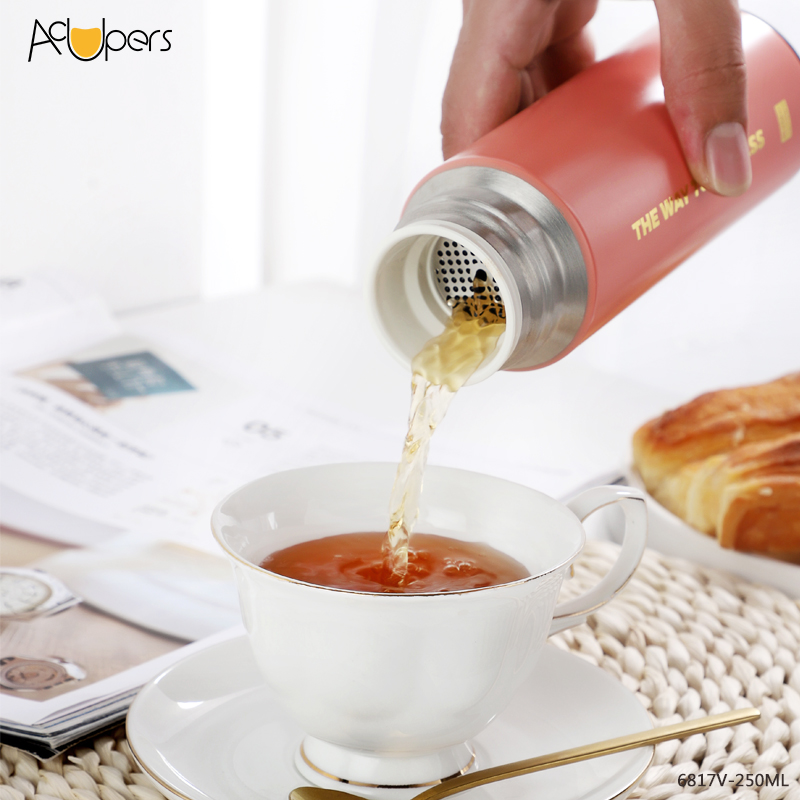 250ml 8.5oz Classic Hot Selling Double Wall 316 Titanium Stainless Steel Vacuum With Tea Infuser