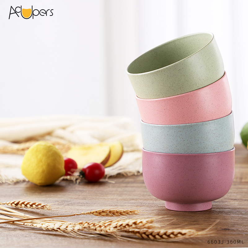 360ml 12oz Eco Friendly Reusable Wheat Straw Rick Husk Fiber Plastic Lunch Bowl For Rice And Soup
