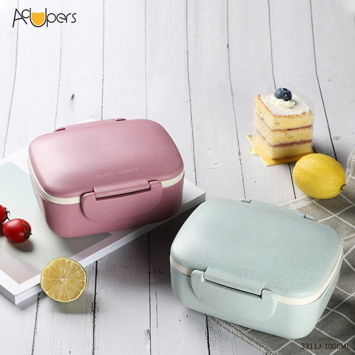 1000ml 34oz Double Layers Wheat Straw Fiber Plastic Lunch Box Bento Box Food Container