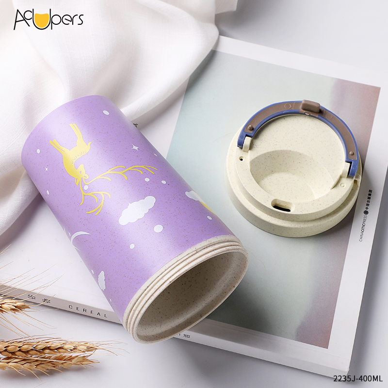 400ml Colorful Eco Friendly Resuable Wheat Straw Fiber Double Wall Coffee Cup