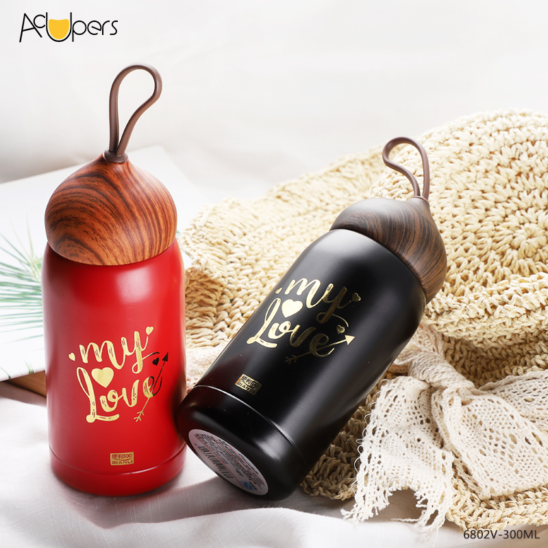 300ml 10oz Double Wall 304 Stainless Steel Vacuum Flask With Wooden PP Lid For Gift