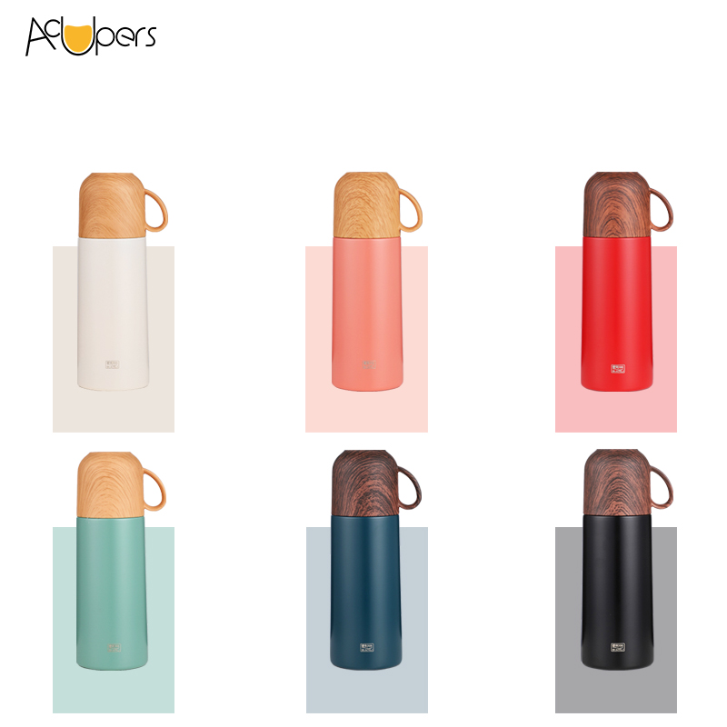 350ml 12oz Double Wall SUS 304 Thermos Flask Insulation Water Bottle With Wooden PP Lid For Gift