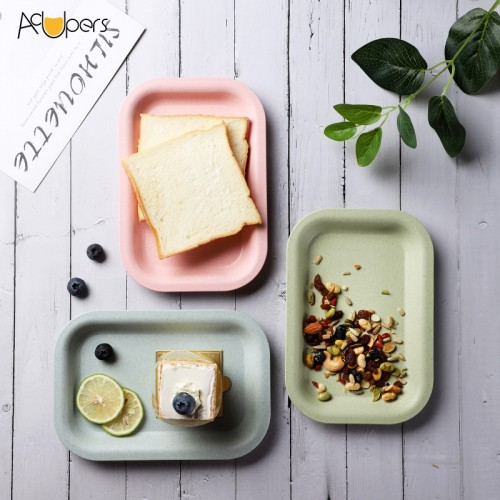 2020 New Arrival Eco Friendly Biodegradable Resuable Wheat Staw Fiber Dishwasher Safe Square Plate For Food