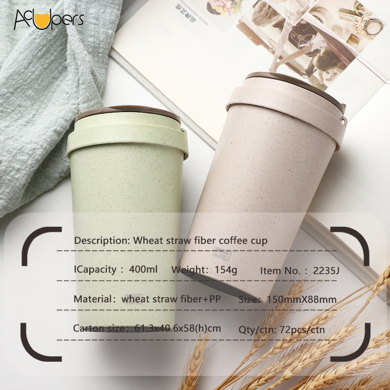 Eco-friendly Wheat Straw Fiber Double Wall Coffee Cup