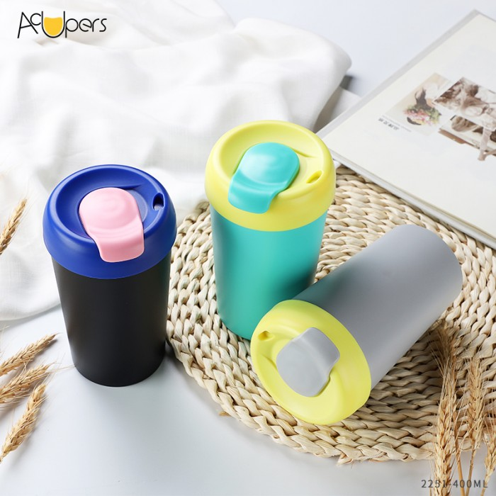 The Lastest 400ml Colorful PP Double Wall Coffee Cup Travelling Mug