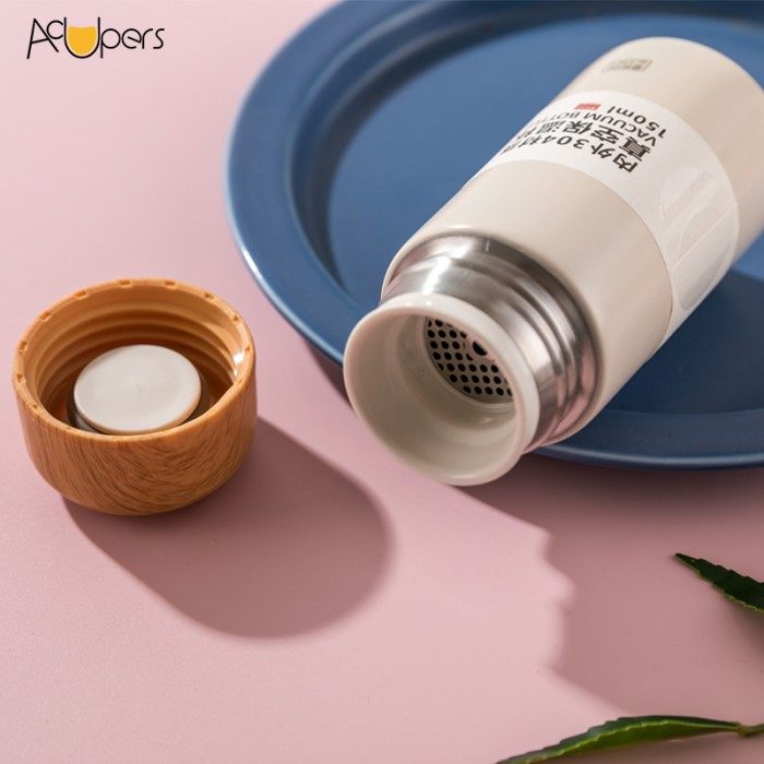 150ml 5oz Portable Lightweight Mini 304 Double Wall Wooden Lid Vacuum Bottle Pocket Cup With Tea Strainer