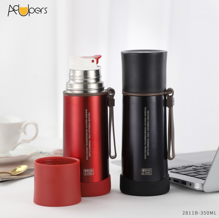 350ml 12oz Double Wall 304 Stainless Steel Vacuum Flask Copper Plating Thermos For 24 hours Keep Hot