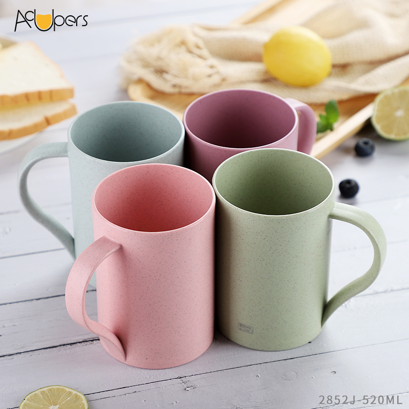Eco Friendly Wheat Straw Fiber Plastic Office Cup With Handle