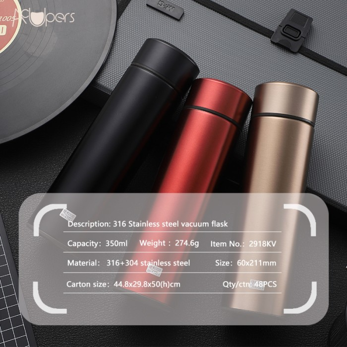 250ml 8.5oz Portable Double Wall 316 Titanium Stainless Steel Thermos Vacuum Flask With Tea Strainer