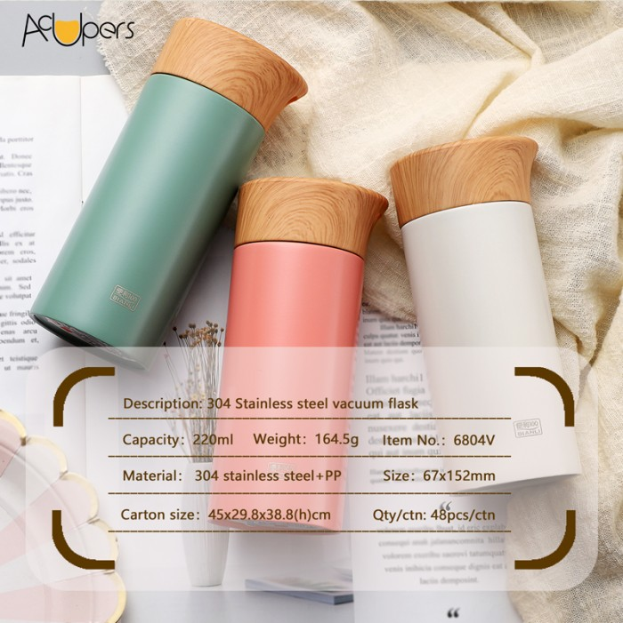 220ml 7.5oz Mini Double Wall 304 Stainless Steel Vacuum Water Bottle With Wooden PP Lid