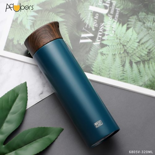 360ml 11oz Double Wall 304 Stainless Steel Vacuum Flask With Wooden PP Lid