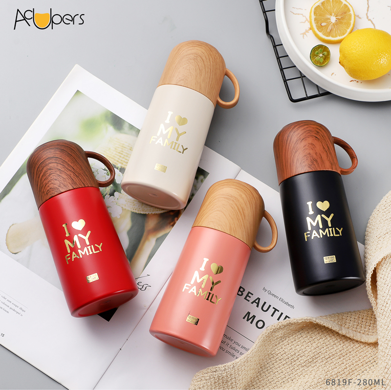 280ml 9.5oz Mini Double Wall 304 Stainless Steel Vacuum Flask With Wooden PP Lid For Gift