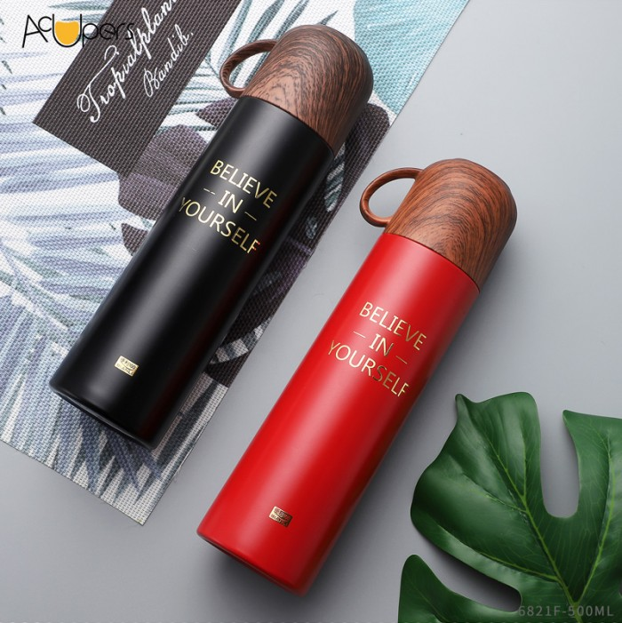 500ml 17oz Double Wall SUS 304 Vacuum Bottle With Wooden PP Lid