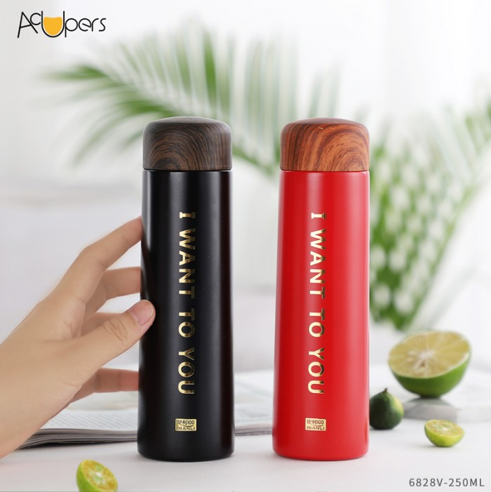 250ml 8.5oz Double Wall Vogue Vacuum Bottle 304 Stainless Steel Flask With Wooden PP Lid