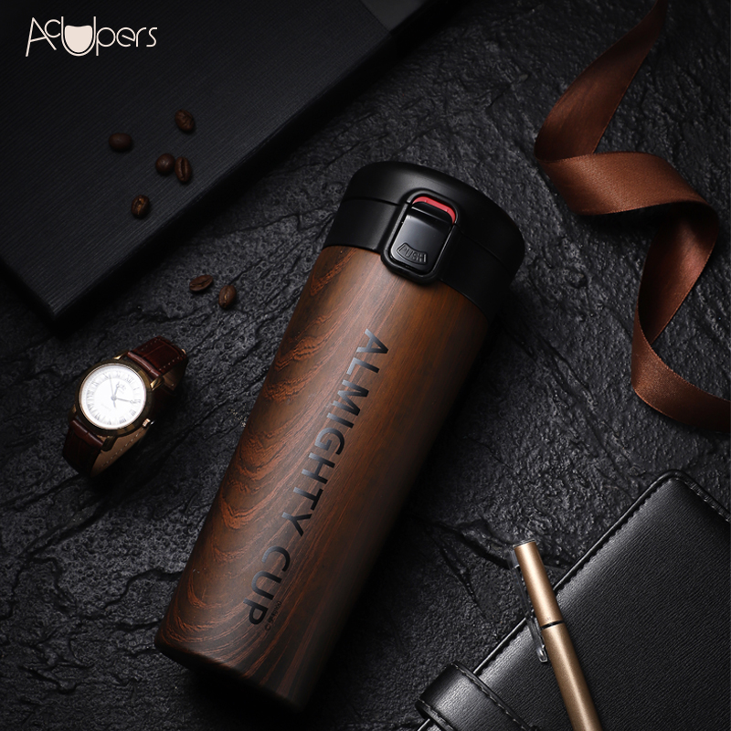 The Newest Stylish Wooden Pattern Series 316 Titanium Stainless Steel Double Wall Vacuum Thermos Flask