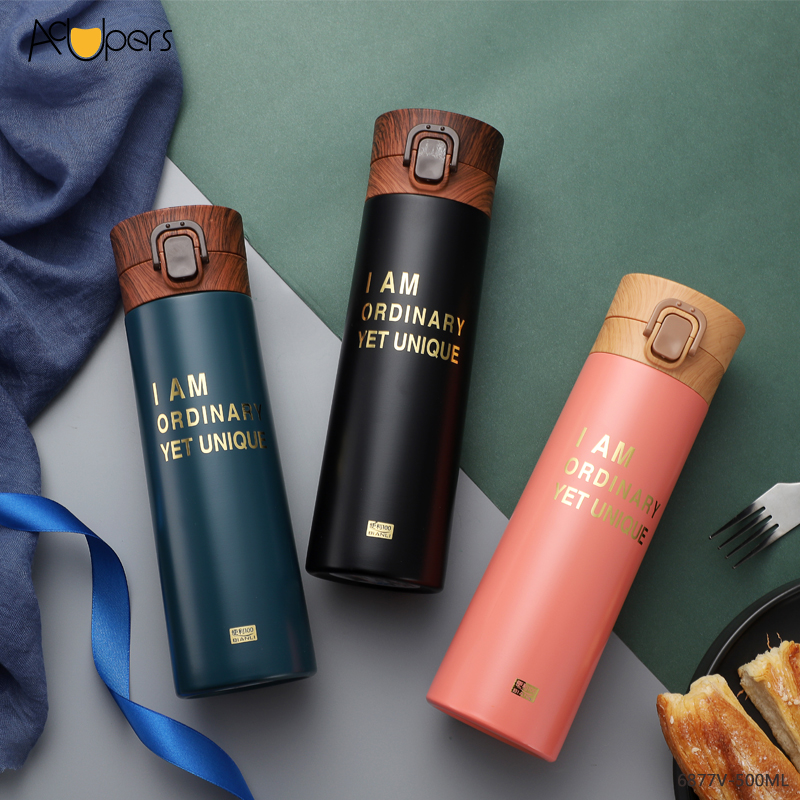 500ml 17oz Double Wall SUS 304 Vacuum Thermos Flask With Flip Top Wooden PP Lid