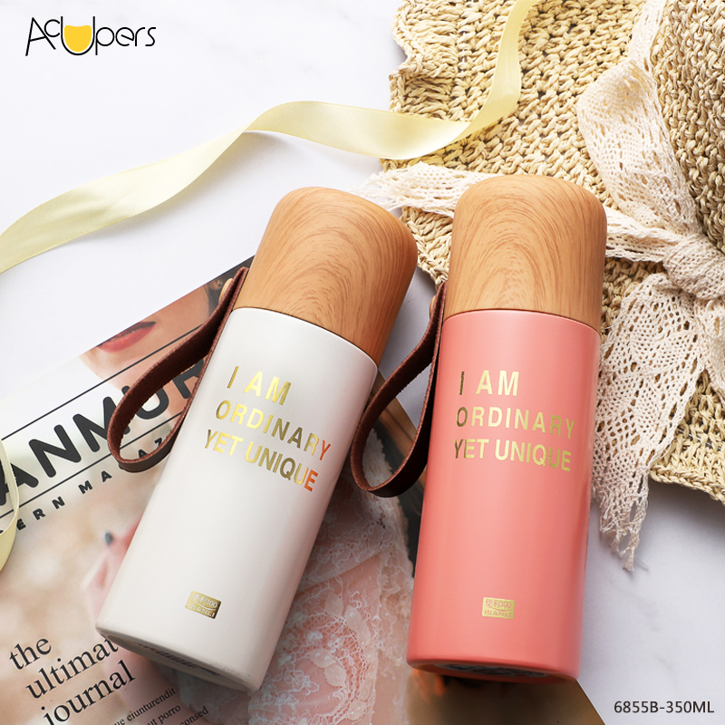 350ml 12oz Vacuum Double Wall Sealed Water Bottle With Wooden PP Lid