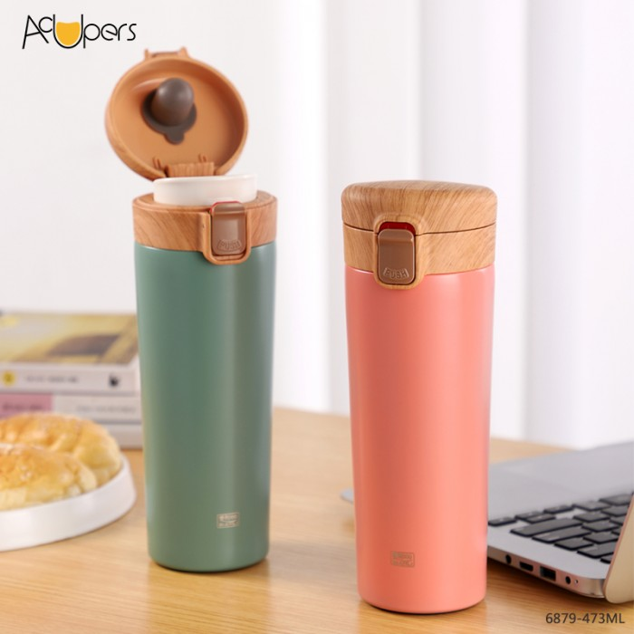 16oz Classic Double Wall 304 Stainless Steel Vacuum Flask Coffee Cup With Wooden Flip Top Lid