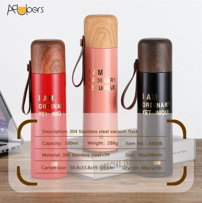 500ml 17oz Large Capacity Double Wall SUS 304 Vacuum Bottle With Wooden PP Cover